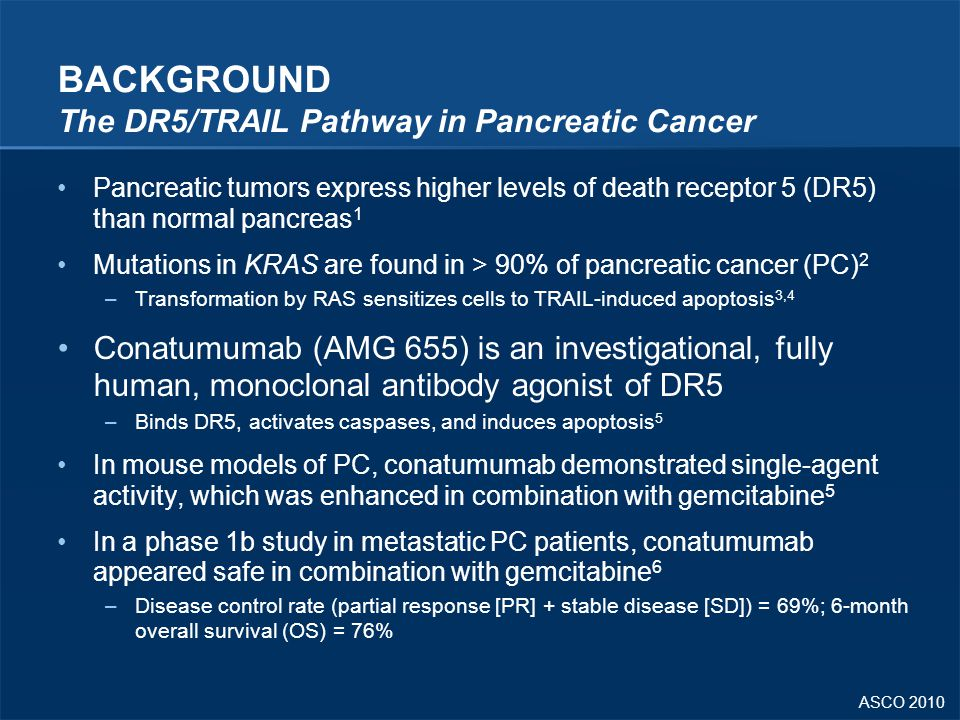 ASCO 2010 BACKGROUND The DR5/TRAIL Pathway in Pancreatic Cancer Pancreatic tumors express higher levels of death receptor 5 (DR5) than normal pancreas