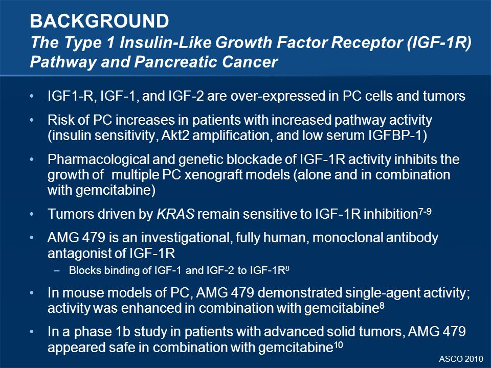 ASCO 2010 BACKGROUND The Type 1 Insulin-Like Growth Factor Receptor (IGF-1R) Pathway and Pancreatic Cancer IGF1-R, IGF-1, and IGF-2 are over-expressed