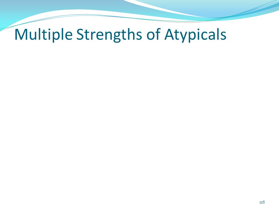 Multiple Strengths of Atypicals 116