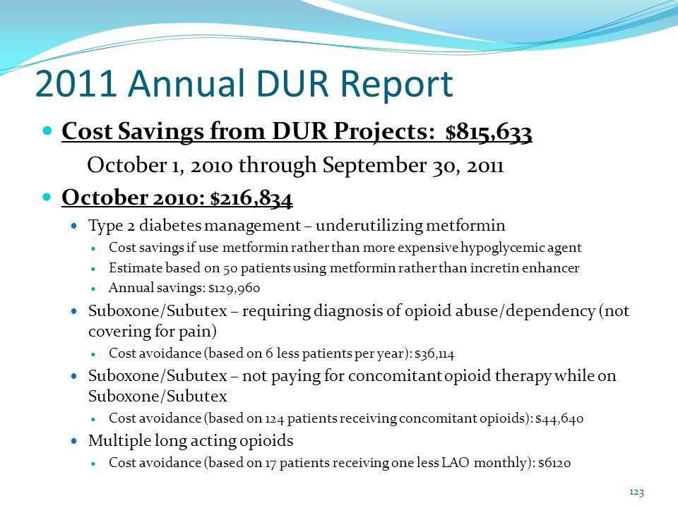 2011 Annual DUR Report Cost Savings from DUR Projects: $815,633 October 1, 2010 through September 30, 2011 October 2010: $216,834 Type 2 diabetes mana