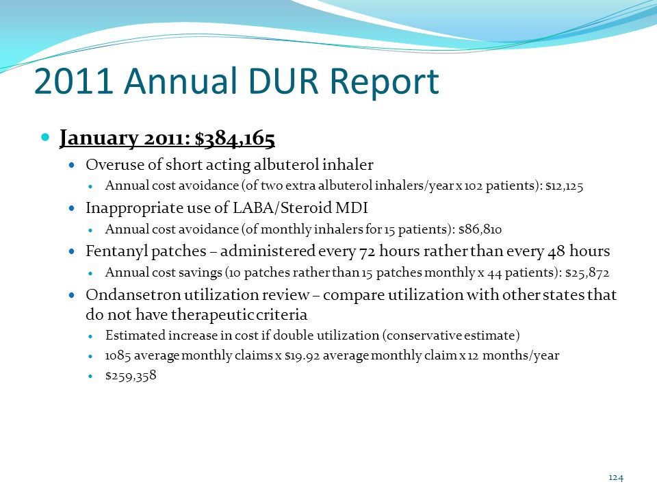 2011 Annual DUR Report January 2011: $384,165 Overuse of short acting albuterol inhaler Annual cost avoidance (of two extra albuterol inhalers/year x
