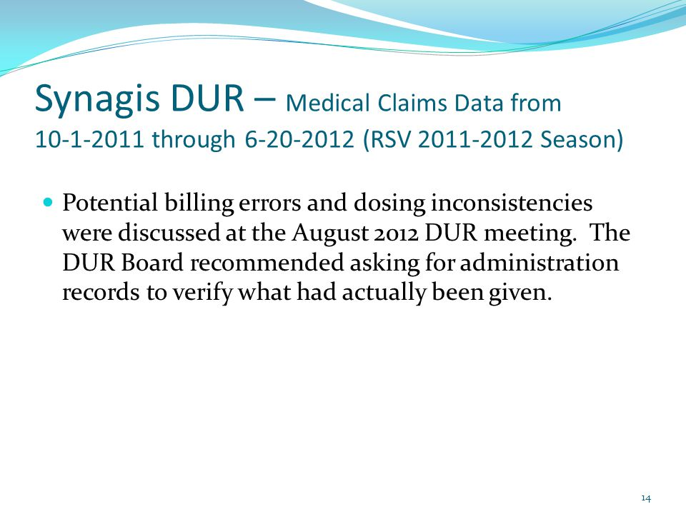 Synagis DUR – Medical Claims Data from 10-1-2011 through 6-20-2012 (RSV 2011-2012 Season) Potential billing errors and dosing inconsistencies were dis