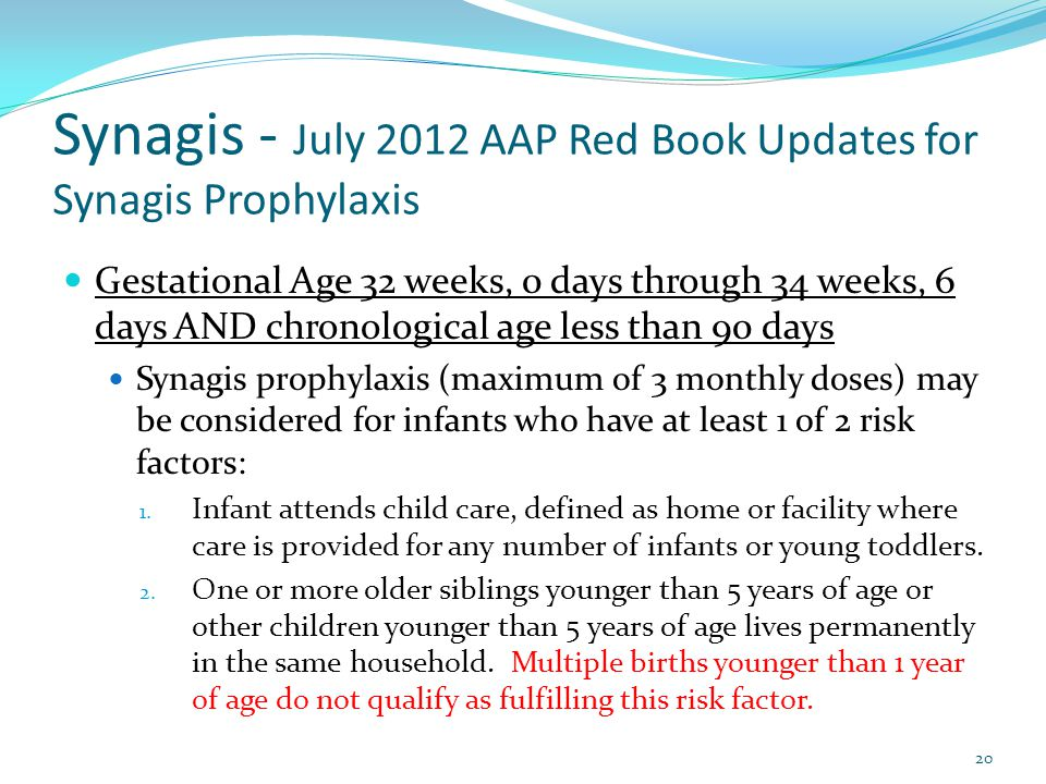 Synagis - July 2012 AAP Red Book Updates for Synagis Prophylaxis Gestational Age 32 weeks, 0 days through 34 weeks, 6 days AND chronological age less