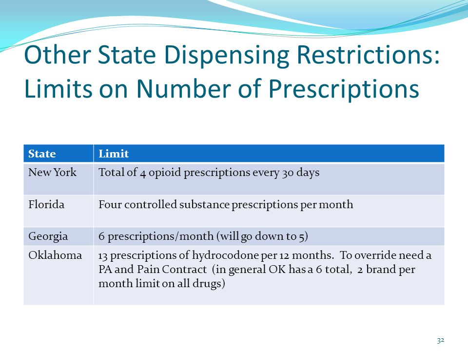Other State Dispensing Restrictions: Limits on Number of Prescriptions StateLimit New YorkTotal of 4 opioid prescriptions every 30 days FloridaFour co