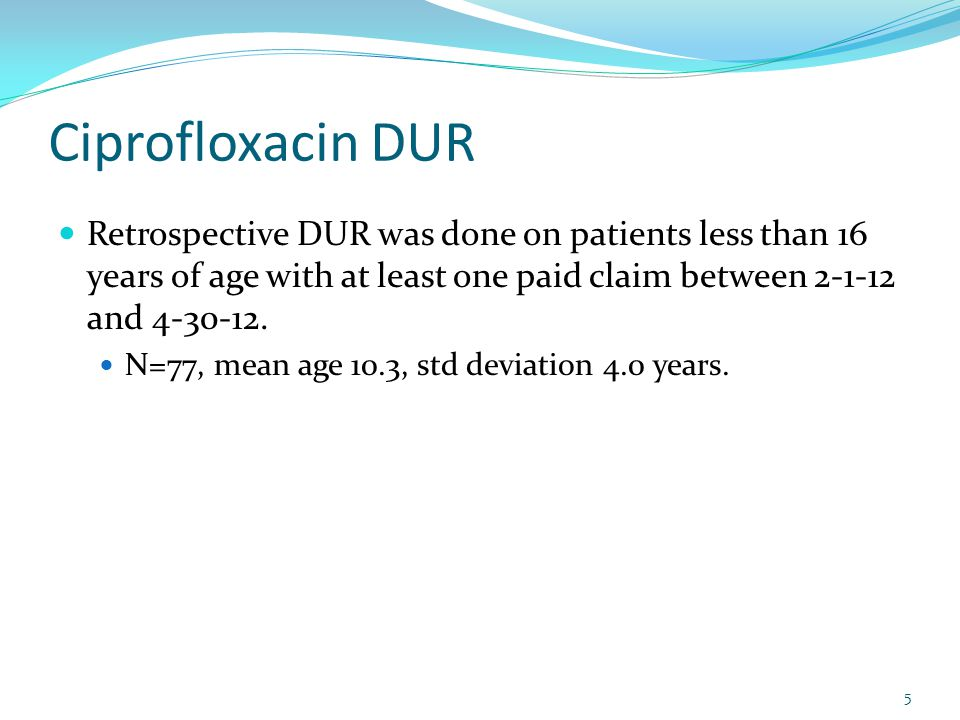 Ciprofloxacin DUR Oral Antibiotic Utilization 2-1-2012 through 4-30-2012 < 16 years of age ProductDistinct Recipients Total ClaimsTotal Reimbursement to Pharmacy Average cost per claim Levofloxacin89$827.62$91.96 Ciprofloxacin*7986$2,772.86$32.24 Amoxicillin14,15915,380$194,848.07$12.67 Augmentin3,3263,620$119,378.31$32.98 Azithromycin6,6207,157$140,062.90$19.57 Bactrim1,8832,240$26,755.37$11.94 * Report ran after original run to identify 77 recipients so 2 new recipients showed up on this report 6