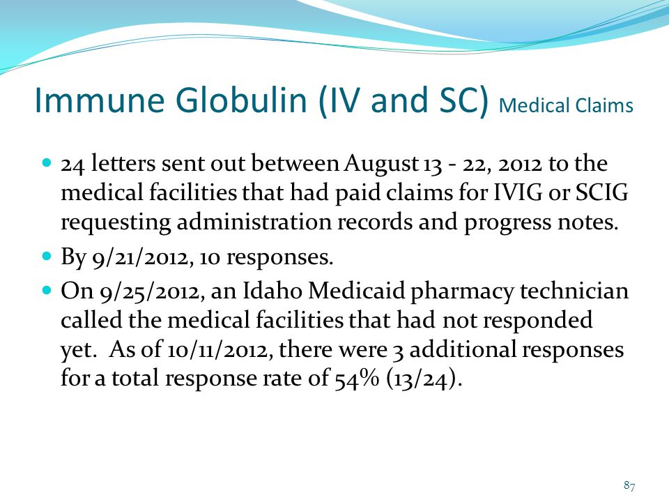 Immune Globulin (IV and SC) Medical Claims 24 letters sent out between August 13 - 22, 2012 to the medical facilities that had paid claims for IVIG or