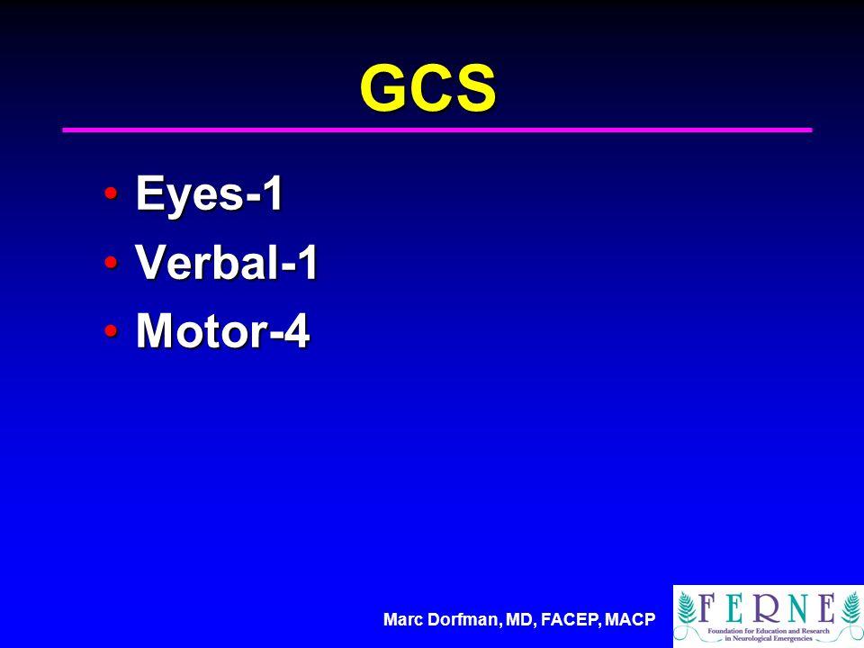 Marc Dorfman, MD, FACEP, MACP GCS Eyes-1Eyes-1 Verbal-1Verbal-1 Motor-4Motor-4