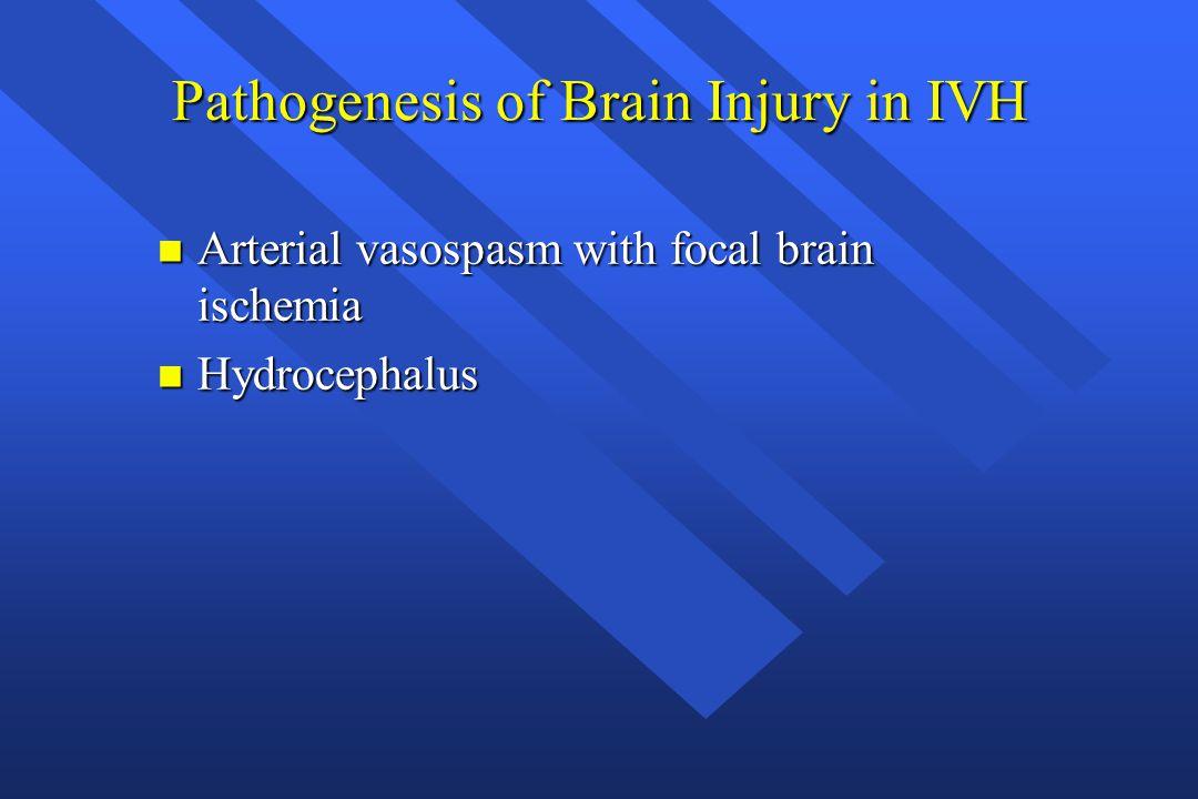 Pathogenesis of Brain Injury in IVH n Arterial vasospasm with focal brain ischemia n Hydrocephalus