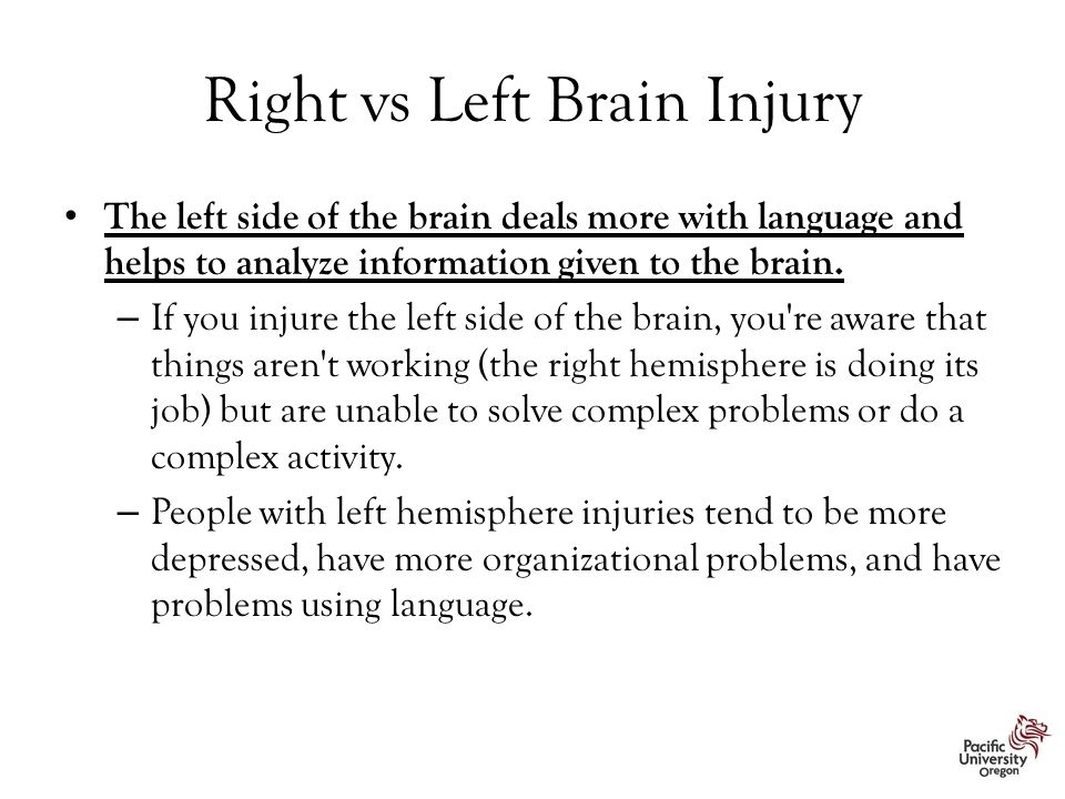 Right vs Left Brain Injury The left side of the brain deals more with language and helps to analyze information given to the brain. – If you injure th