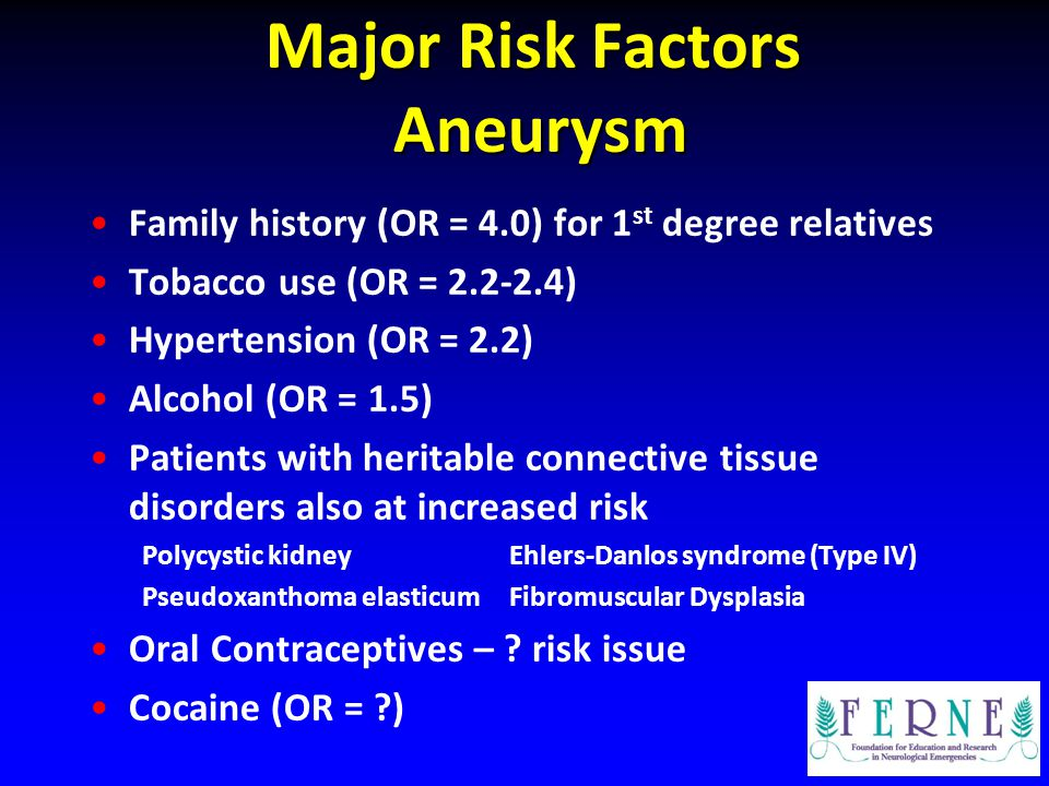 Major Risk Factors Aneurysm Family history (OR = 4.0) for 1 st degree relatives Tobacco use (OR = 2.2-2.4) Hypertension (OR = 2.2) Alcohol (OR = 1.5)