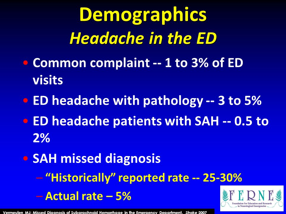 Demographics Headache in the ED Common complaint -- 1 to 3% of ED visits ED headache with pathology -- 3 to 5% ED headache patients with SAH -- 0.5 to