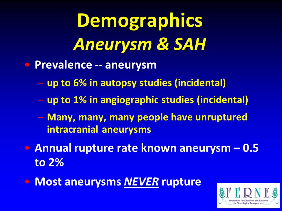 Demographics Aneurysm & SAH Prevalence -- aneurysm –up to 6% in autopsy studies (incidental) –up to 1% in angiographic studies (incidental) –Many, man