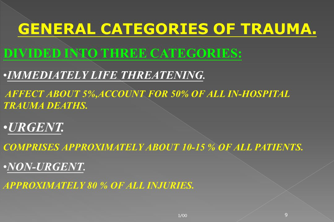 9 GENERAL CATEGORIES OF TRAUMA. DIVIDED INTO THREE CATEGORIES: IMMEDIATELY LIFE THREATENING. AFFECT ABOUT 5%,ACCOUNT FOR 50% OF ALL IN-HOSPITAL TRAUMA