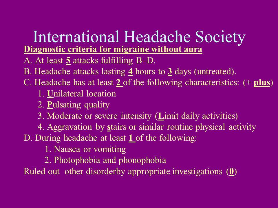 International Headache Society Diagnostic criteria for migraine without aura A.