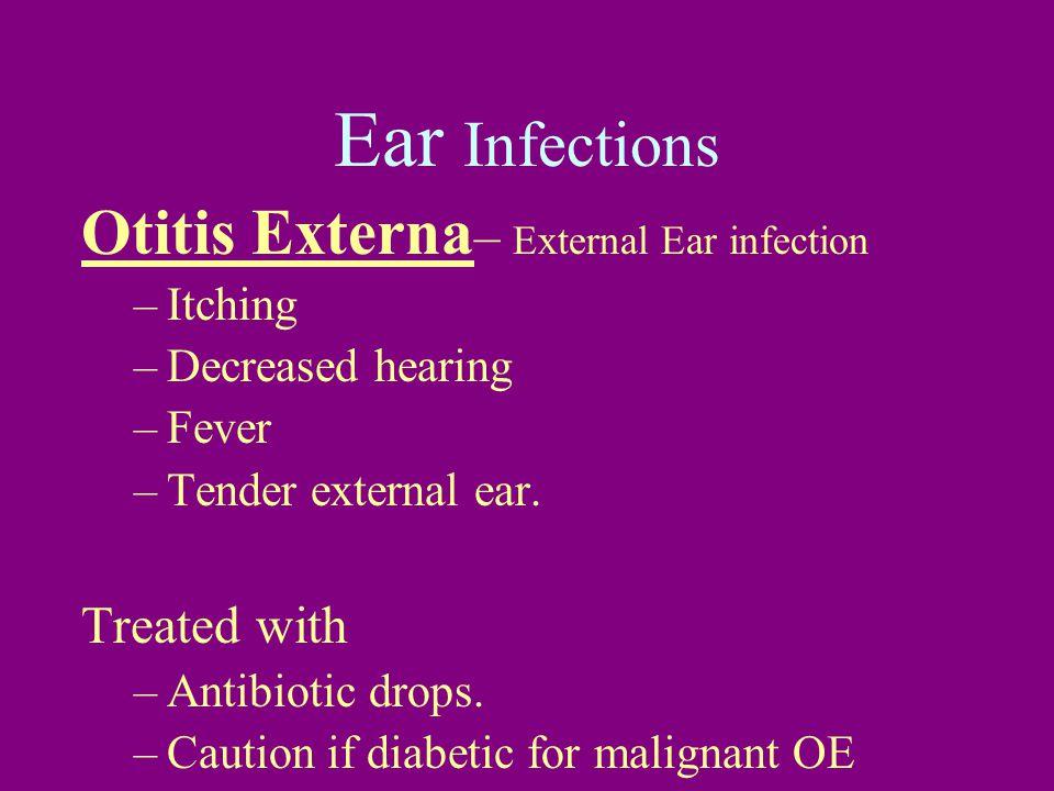 Ear Infections Otitis Externa – External Ear infection –Itching –Decreased hearing –Fever –Tender external ear.