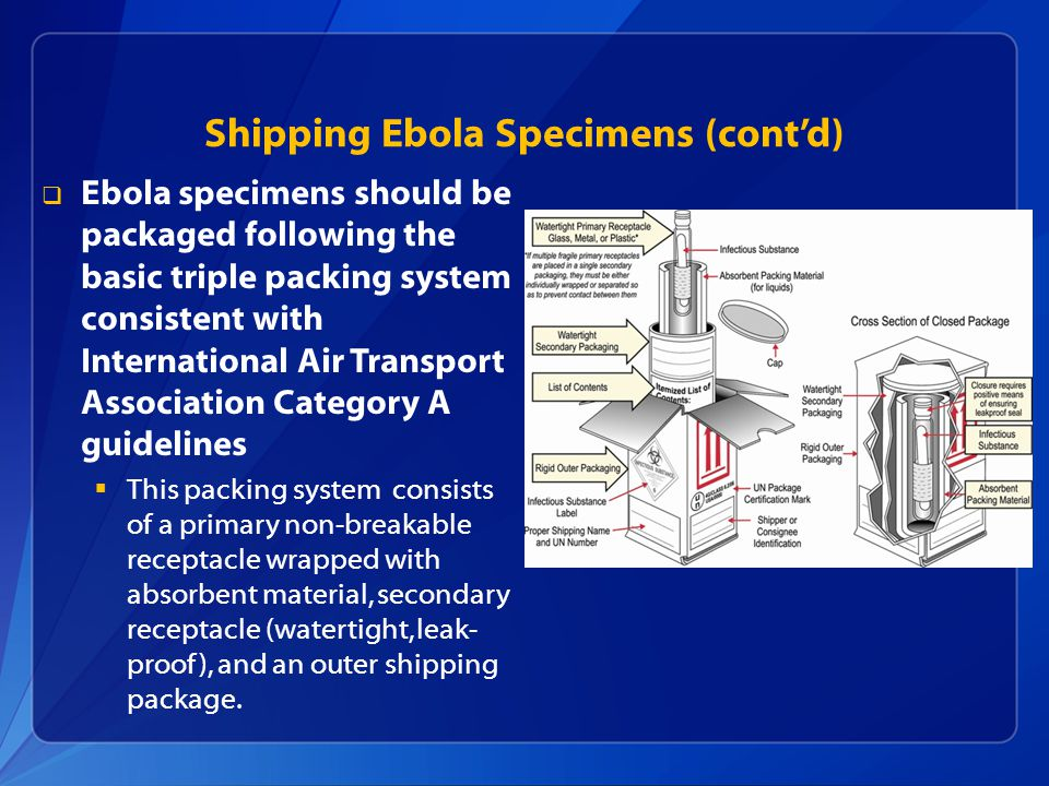  Ebola specimens should be packaged following the basic triple packing system consistent with International Air Transport Association Category A guidelines  This packing system consists of a primary non-breakable receptacle wrapped with absorbent material, secondary receptacle (watertight, leak- proof), and an outer shipping package.