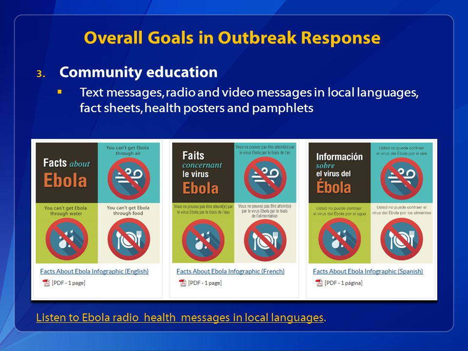 Listen to Ebola radio health messages in local languagesListen to Ebola radio health messages in local languages.