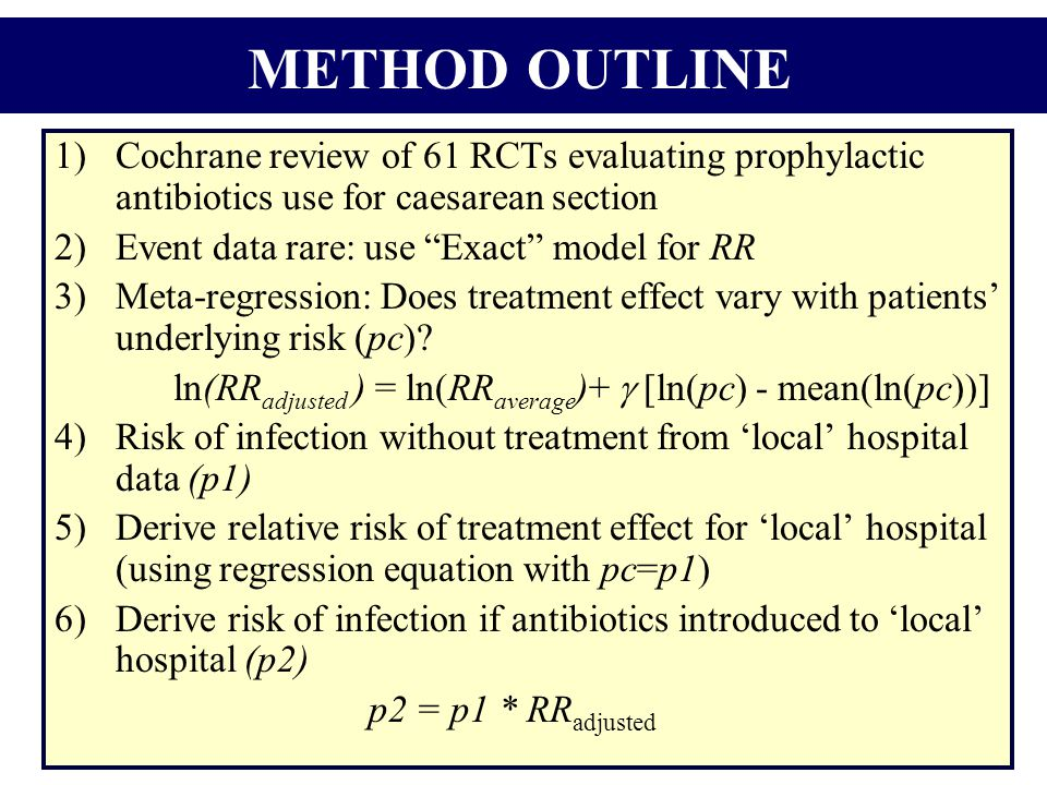 1)Cochrane review of 61 RCTs evaluating prophylactic antibiotics use for caesarean section 2)Event data rare: use Exact model for RR 3)Meta-regression: Does treatment effect vary with patients' underlying risk (pc).
