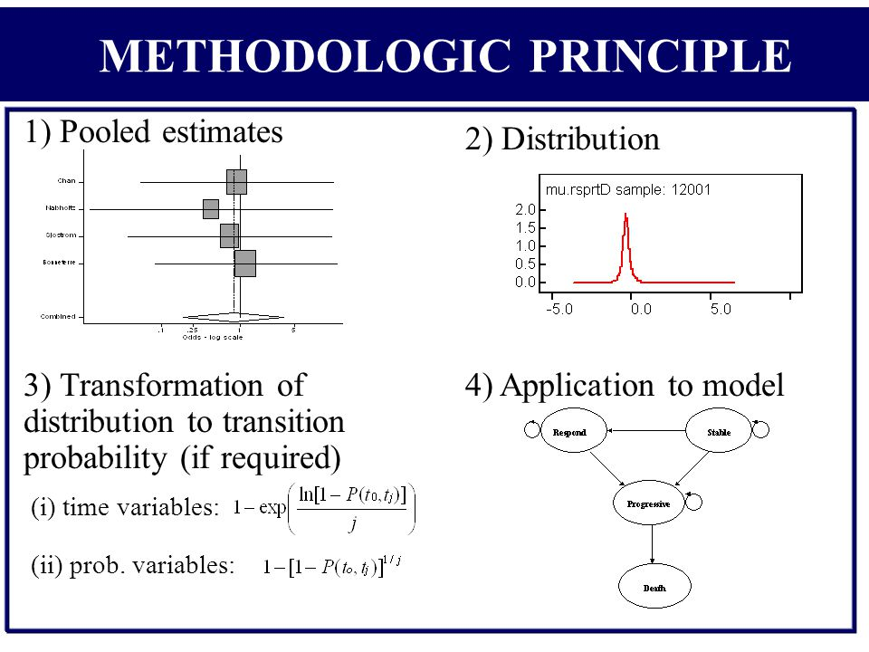 1) Pooled estimates 3) Transformation of distribution to transition probability (if required) 2) Distribution 4) Application to model (i) time variables: (ii) prob.