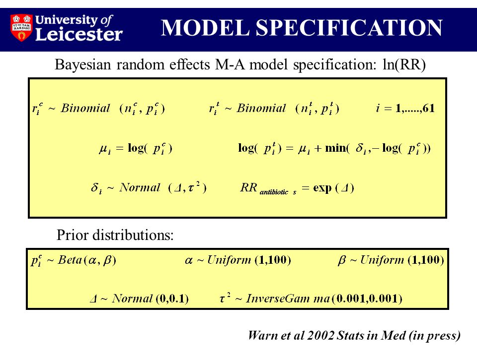 MODEL SPECIFICATION Warn et al 2002 Stats in Med (in press) Bayesian random effects M-A model specification: ln(RR) Prior distributions: