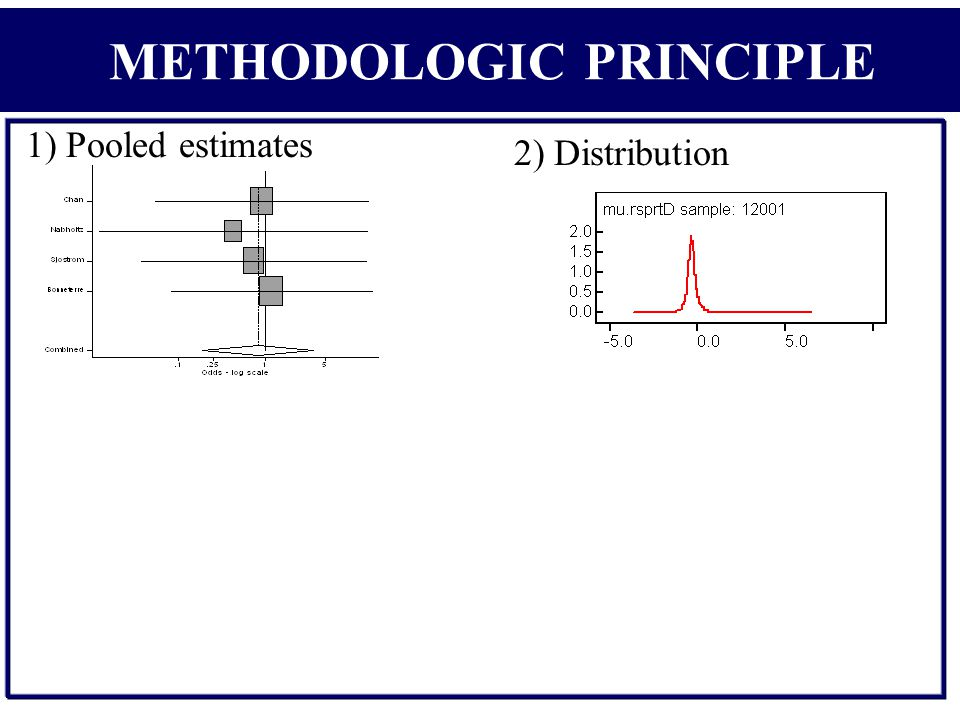 1) Pooled estimates 2) Distribution METHODOLOGIC PRINCIPLE