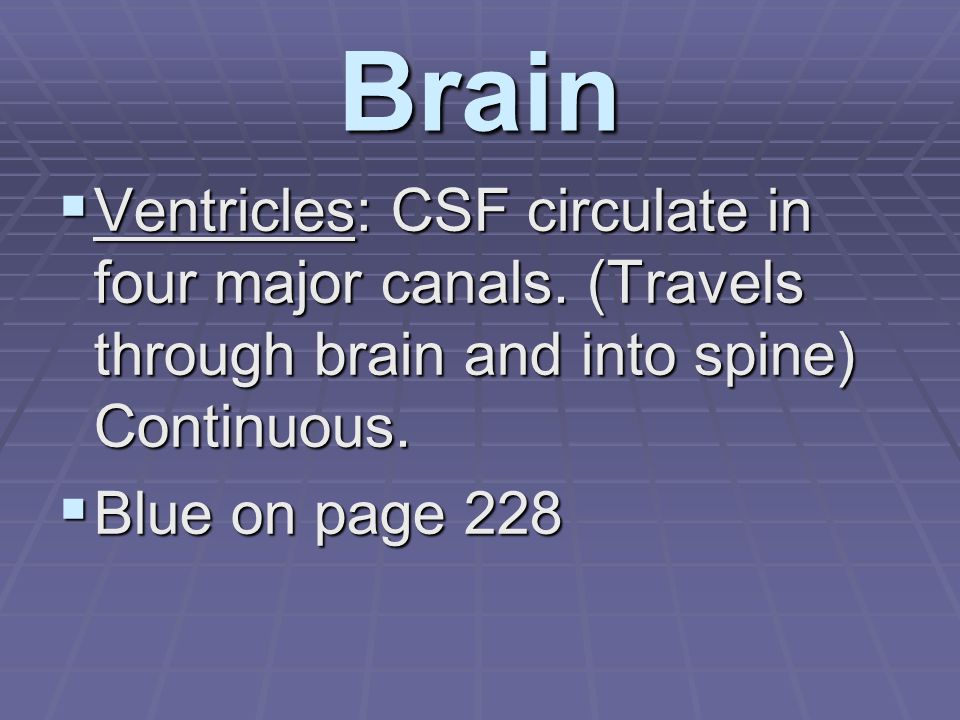 Brain  Ventricles: CSF circulate in four major canals.