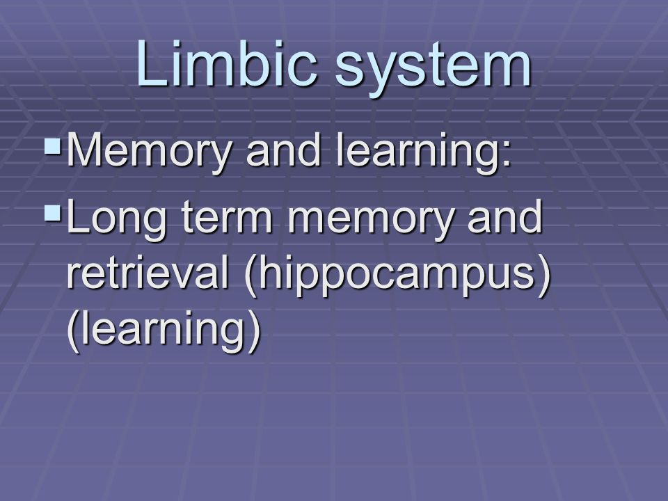 Limbic system  Memory and learning:  Long term memory and retrieval (hippocampus) (learning)
