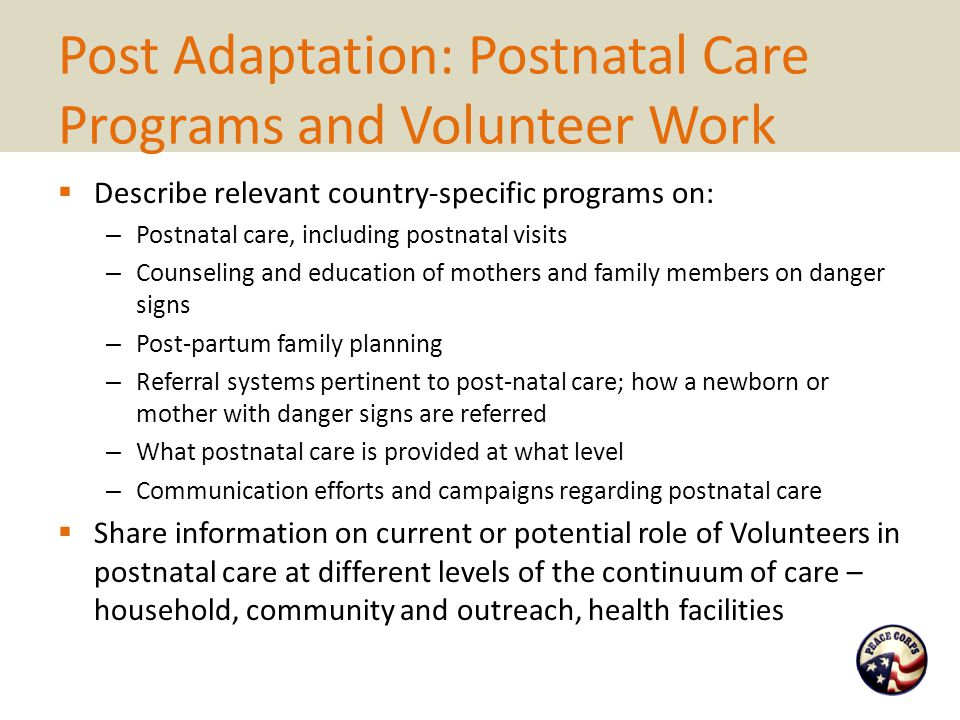 Post Adaptation: Postnatal Care Programs and Volunteer Work  Describe relevant country-specific programs on: – Postnatal care, including postnatal vi