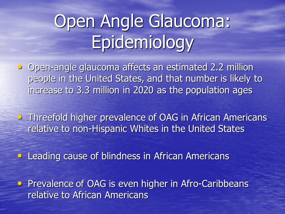 Open Angle Glaucoma: Epidemiology Open-angle glaucoma affects an estimated 2.2 million people in the United States, and that number is likely to incre