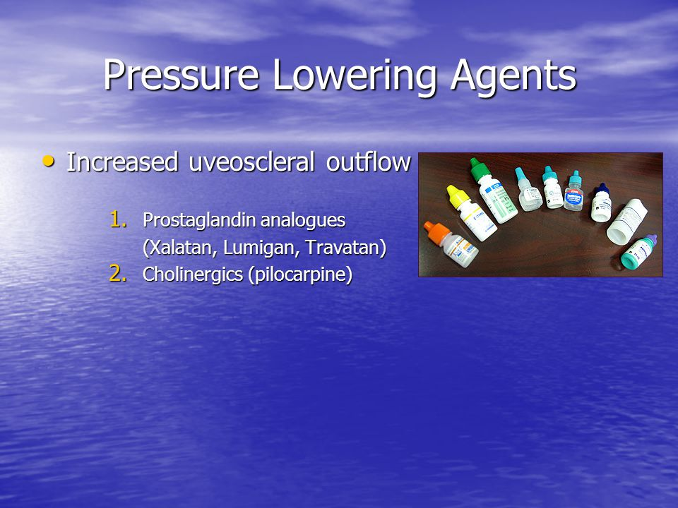 Pressure Lowering Agents Increased uveoscleral outflow Increased uveoscleral outflow 1. Prostaglandin analogues (Xalatan, Lumigan, Travatan) 2. Cholin