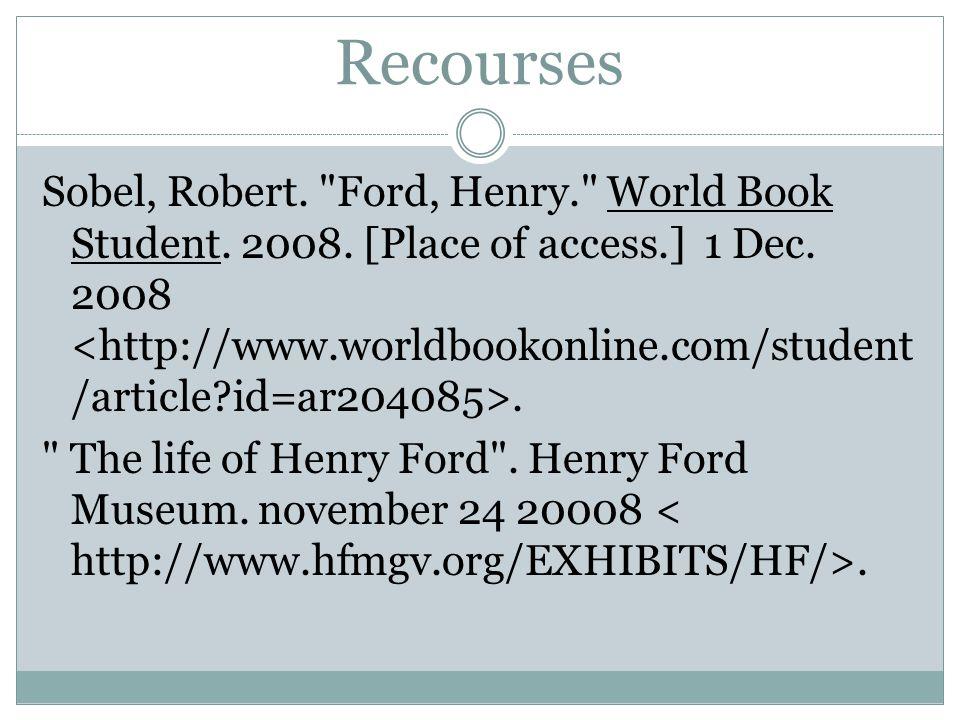 Recourses Sobel, Robert.