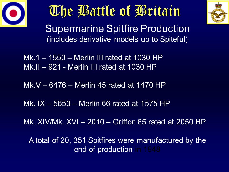 The Battle of Britain Supermarine Spitfire Production (includes derivative models up to Spiteful) Mk.1 – 1550 – Merlin III rated at 1030 HP Mk.II – 921 - Merlin III rated at 1030 HP Mk.V – 6476 – Merlin 45 rated at 1470 HP Mk.