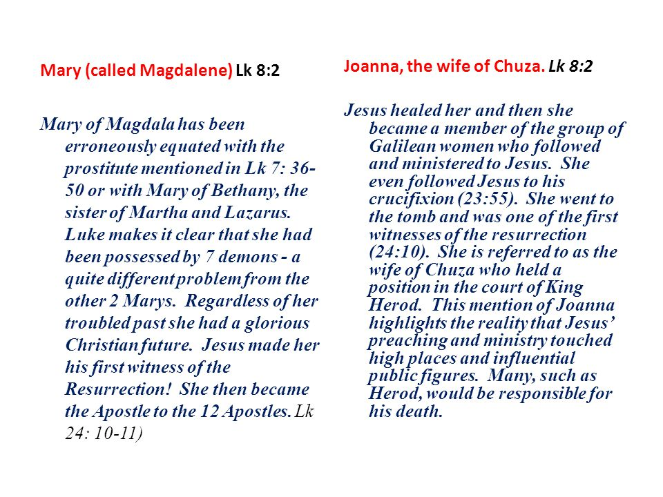 Women as Apostles The gospel accounts present the vital role of women in the life, ministry and mission of Jesus.