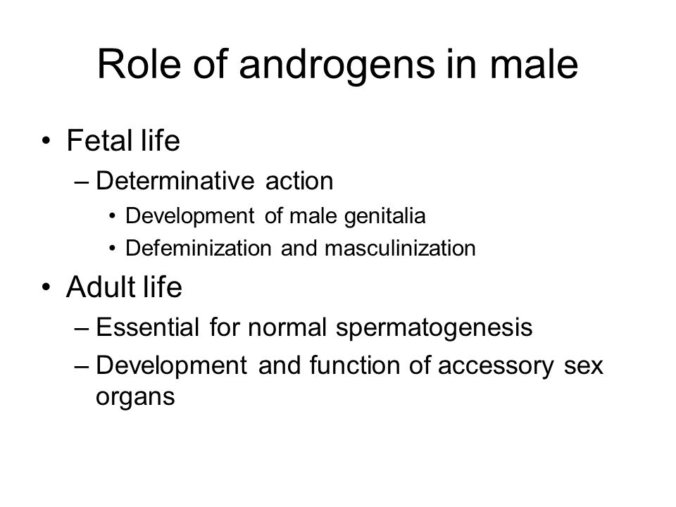 Role of androgens in male Fetal life –Determinative action Development of male genitalia Defeminization and masculinization Adult life –Essential for normal spermatogenesis –Development and function of accessory sex organs