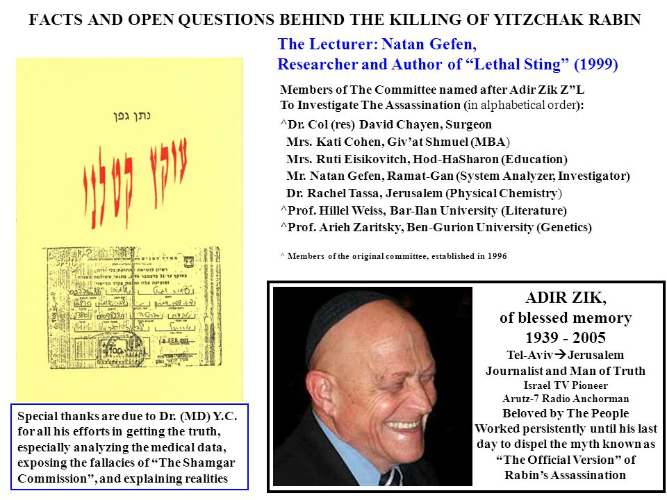 "FACTS AND OPEN QUESTIONS BEHIND THE KILLING OF YITZCHAK RABIN The Lecturer: Natan Gefen, Researcher and Author of ""Lethal Sting"" (1999) Members of The"
