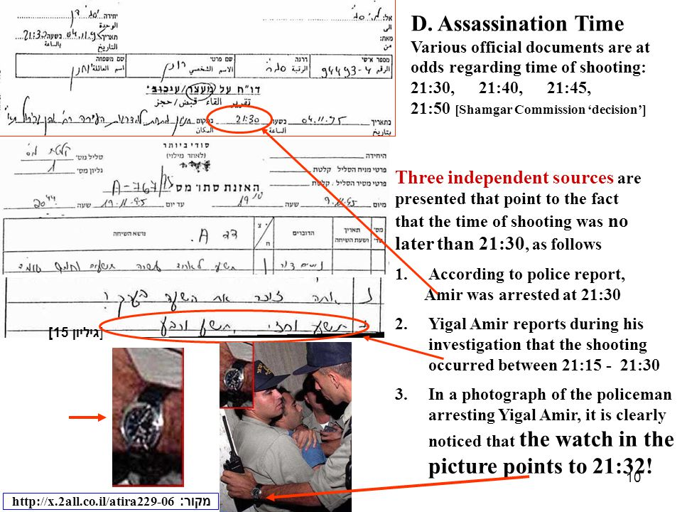 10 D. Assassination Time Various official documents are at odds regarding time of shooting: 21:30,21:40,21:45, 21:50 [Shamgar Commission 'decision'] T