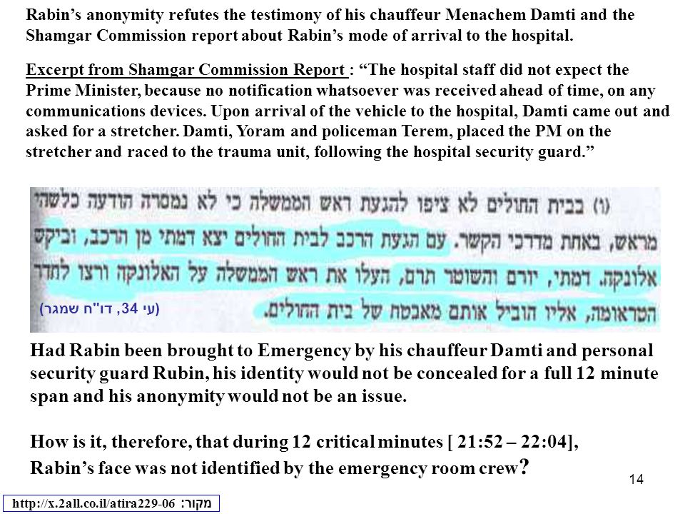 14 Had Rabin been brought to Emergency by his chauffeur Damti and personal security guard Rubin, his identity would not be concealed for a full 12 min