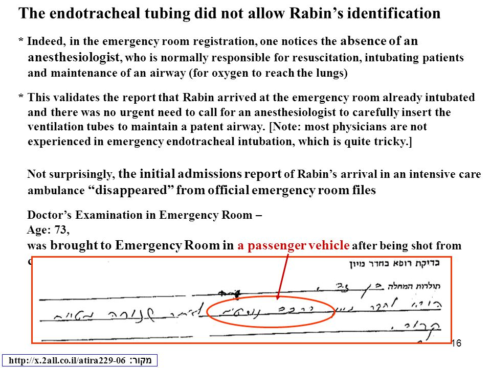 16 The endotracheal tubing did not allow Rabin's identification * Indeed, in the emergency room registration, one notices the absence of an anesthesiologist, who is normally responsible for resuscitation, intubating patients and maintenance of an airway (for oxygen to reach the lungs) * This validates the report that Rabin arrived at the emergency room already intubated and there was no urgent need to call for an anesthesiologist to carefully insert the ventilation tubes to maintain a patent airway.