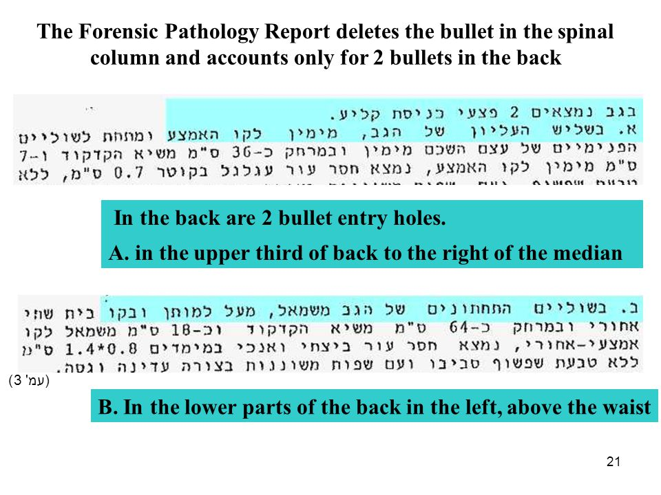 21 (עמ' 3) The Forensic Pathology Report deletes the bullet in the spinal column and accounts only for 2 bullets in the back In the back are 2 bullet