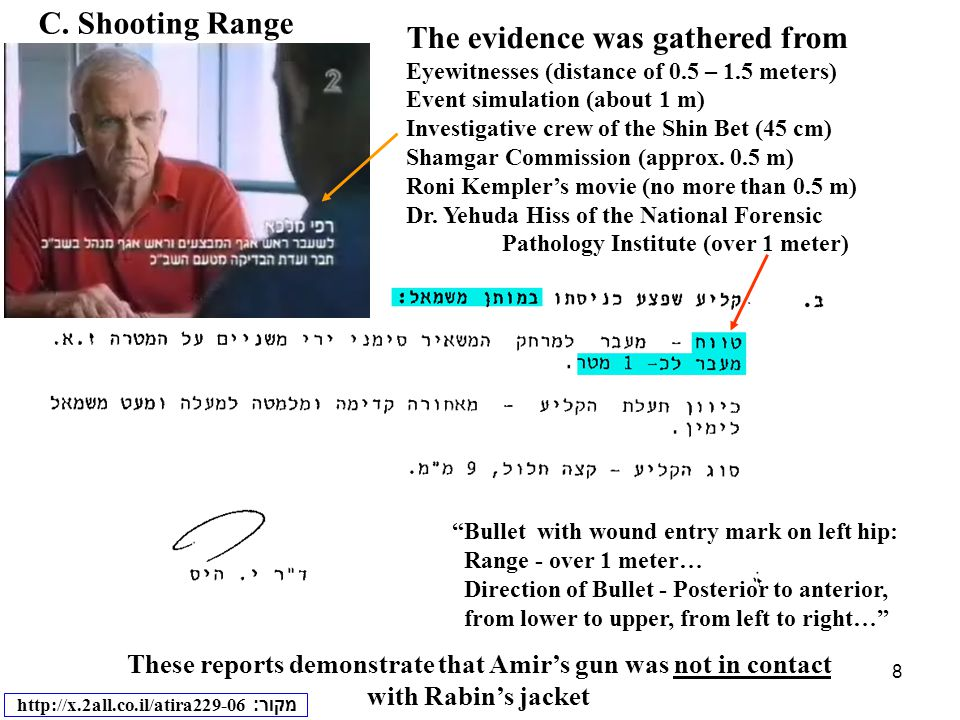 8 C. Shooting Range These reports demonstrate that Amir's gun was not in contact with Rabin's jacket מקור : http://x.2all.co.il/atira229-06 The eviden