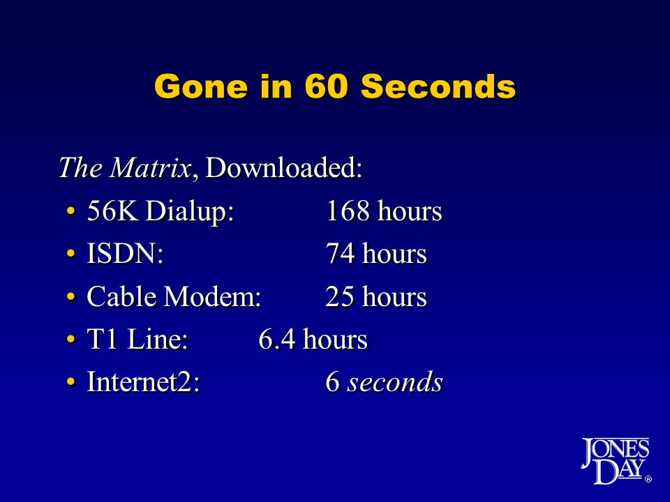  Gone in 60 Seconds The Matrix, Downloaded: 56K Dialup:168 hours ISDN:74 hours Cable Modem:25 hours T1 Line:6.4 hours Internet2:6 seconds The Matrix, Downloaded: 56K Dialup:168 hours ISDN:74 hours Cable Modem:25 hours T1 Line:6.4 hours Internet2:6 seconds