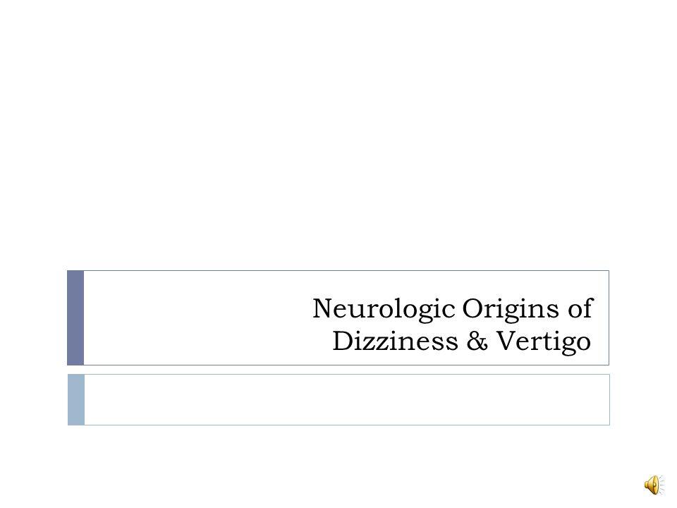 Neurologic Origins of Dizziness & Vertigo