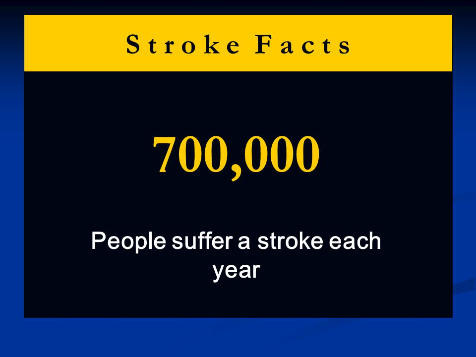 S t r o k e F a c t s 700,000 People suffer a stroke each year