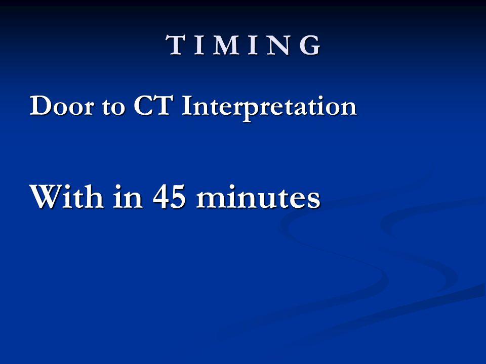 T I M I N G Door to CT Interpretation With in 45 minutes