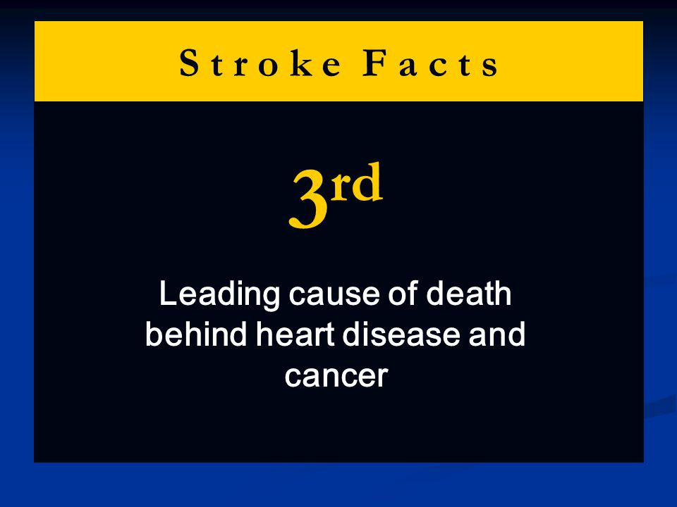 S t r o k e F a c t s 3 rd Leading cause of death behind heart disease and cancer