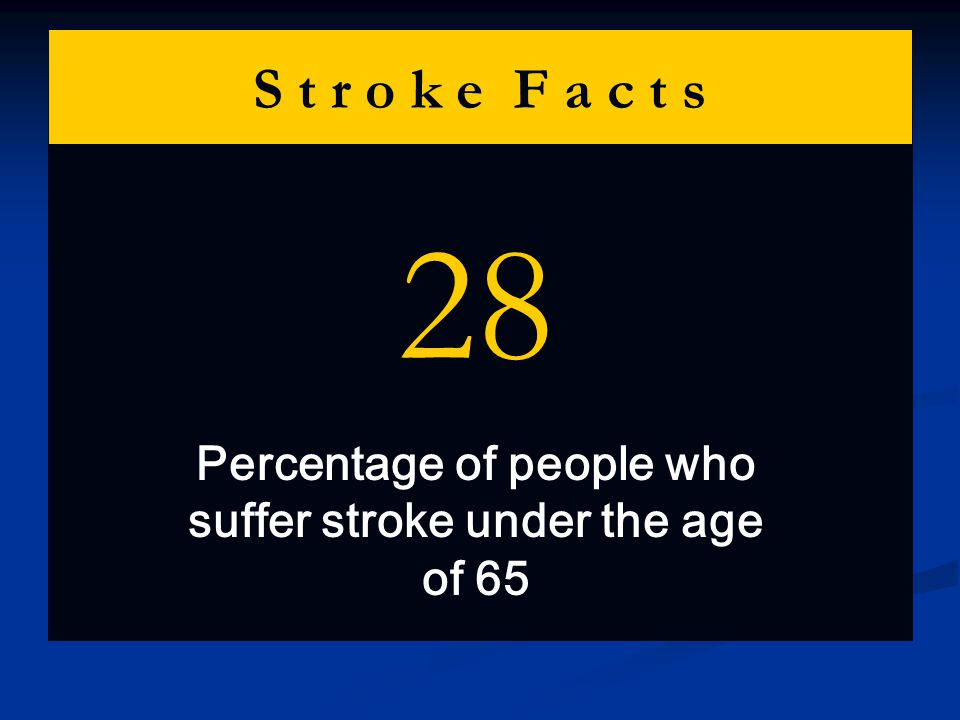 S t r o k e F a c t s 28 Percentage of people who suffer stroke under the age of 65