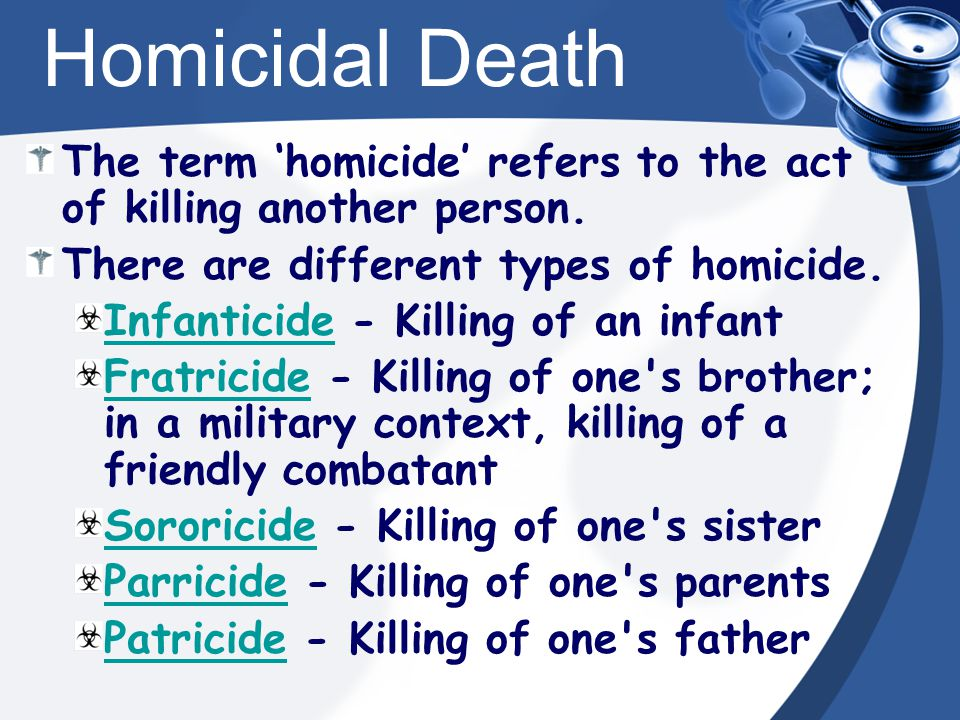 Homicidal Death The term 'homicide' refers to the act of killing another person.