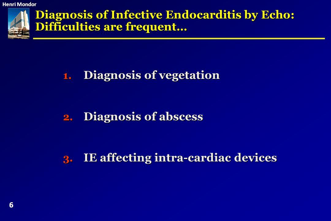 Henri Mondor 1.Diagnosis of vegetation 2. Diagnosis of abscess 3.