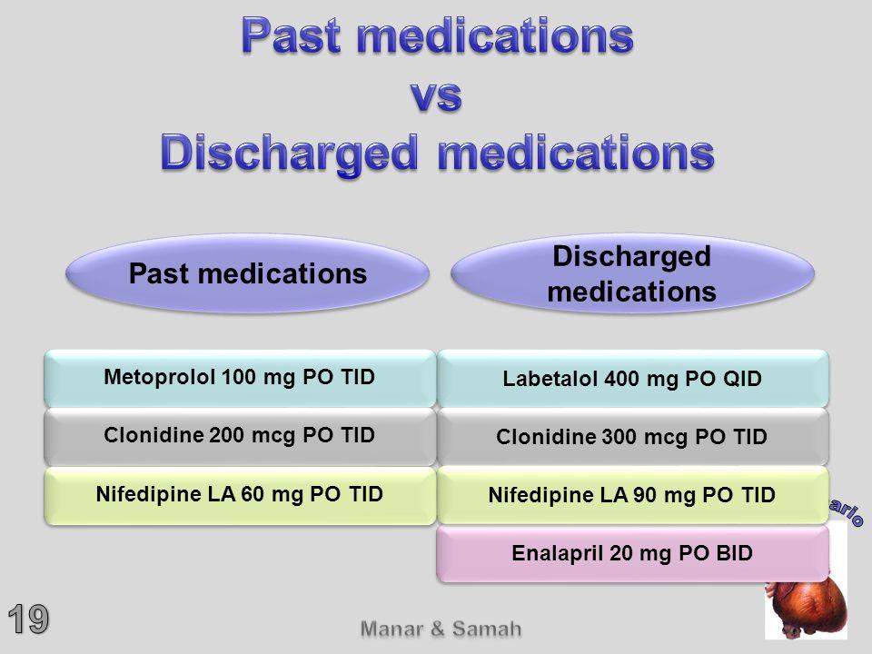 Labetalol 400 mg PO QID Clonidine 300 mcg PO TID Enalapril 20 mg PO BID Nifedipine LA 90 mg PO TID Metoprolol 100 mg PO TID Clonidine 200 mcg PO TID N