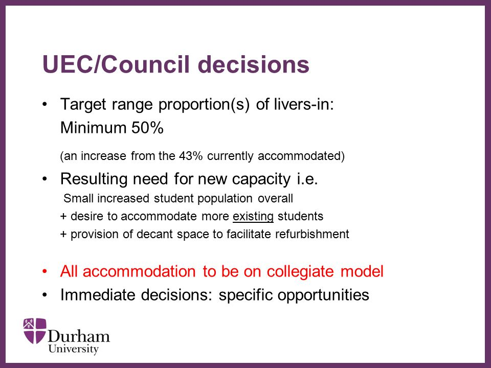 ∂ UEC/Council decisions Target range proportion(s) of livers-in: Minimum 50% (an increase from the 43% currently accommodated) Resulting need for new capacity i.e.